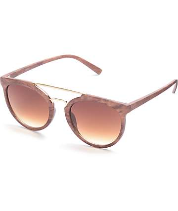 Wood Rounded Brow Bar Sunglasses