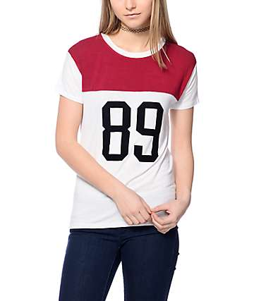Workshop 89 Colorblock White & Burgundy T-Shirt