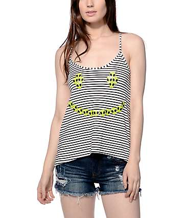 Workshop Alien Smiley Face Striped Tank top