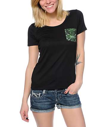 Workshop Cannabis Pocket Black Scoop Neck T-Shirt
