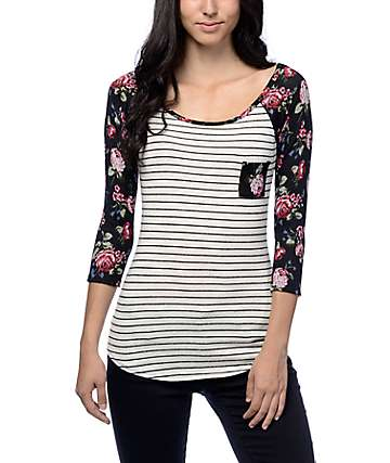 Workshop Carly Floral Stripe Baseball T-Shirt