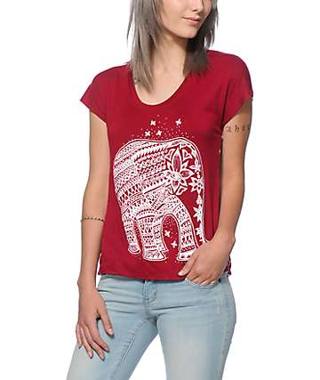 Workshop Elephant Chiffon Back Dolman Top