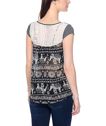 Workshop Elephant Galore Charcoal Top