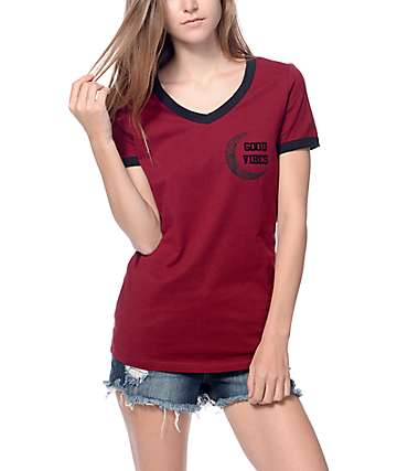 Workshop Good Vibes Moon Burgundy V-neck Ringer T-Shirt