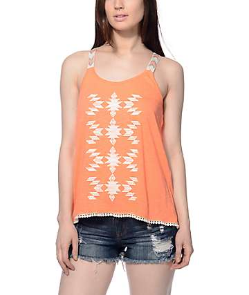 Workshop Mia Coral Aztec Halter Tank Top