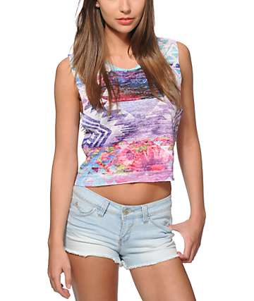 Workshop Nora Cosmic Tribal Crop Muscle Tank Top