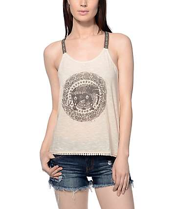 Workshop Sophia Elephant Trim Cream Tank Top