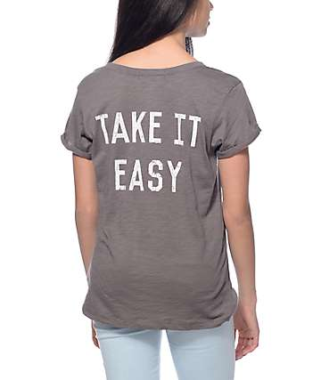 Workshop Take It Easy Charcoal Cuffed T-Shirt
