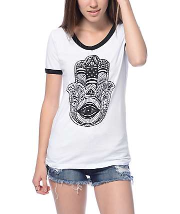 Workshop Talk To Hamsa Cream & Black V-Neck Ringer T-Shirt