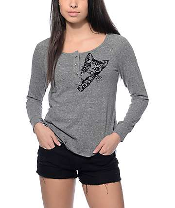 Workshop Tina Heather Grey Cat Flocking Long Sleeve Shirt