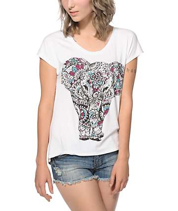 Workshop Ziggy Elephant Tribal Chiffon Back Dolman T-Shirt