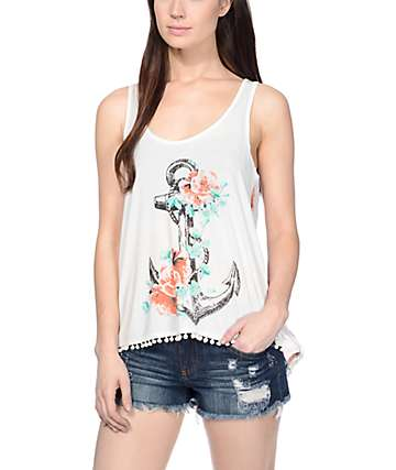 Workshop Zoe Rose Anchor Cream Tank Top