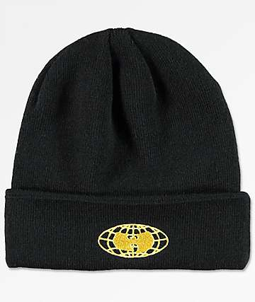 Wu-Wear Wu-Tang Globe Logo Black Beanie