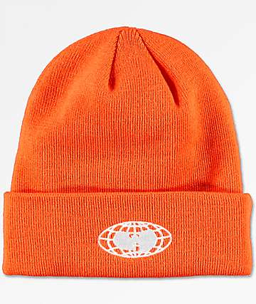 Wu-Wear Wu-Tang Globe Logo Orange Beanie