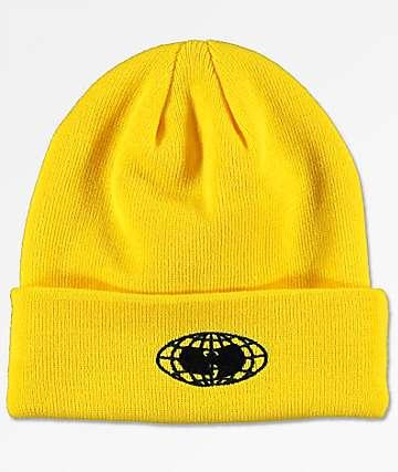 Wu Wear Wu-Tang Globe Logo Yellow Beanie