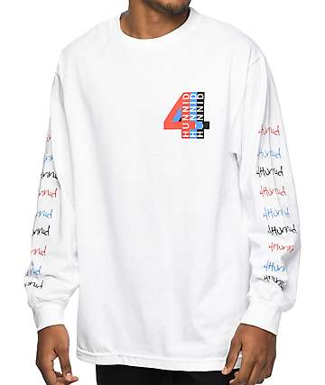 YG 4 Hunnid Logo White Long Sleeve T-Shirt
