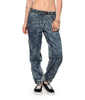 YMI Acid Wash Denim Jogger Pants