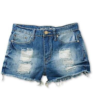 YMI Lori High Waisted Cut-Off Denim Shorts