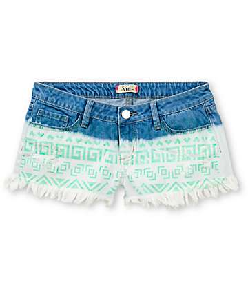 YMI Nora Mint Aztec Frayed Denim Cut Off Shorts