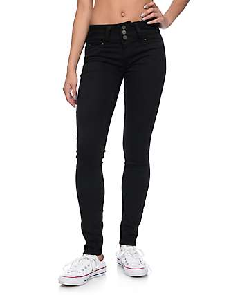 YMI WannaBettaButt 3 Button Black Jeggings