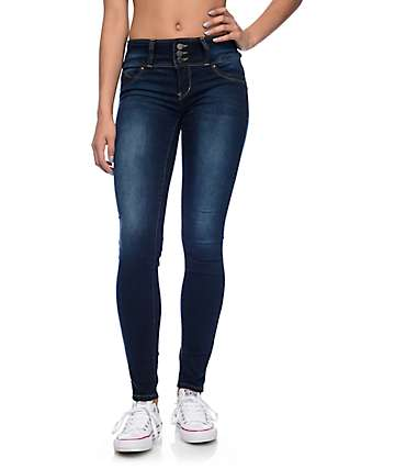 YMI WannaBettaButt 3 Button Dark Blue Jeggings