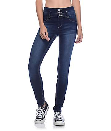 YMI WannaBettaButt 3 Button Dark Wash High Wasted Skinny Jeans
