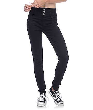 YMI WannaBettaButt Black 3 Button High Wasted Skinny Jeans