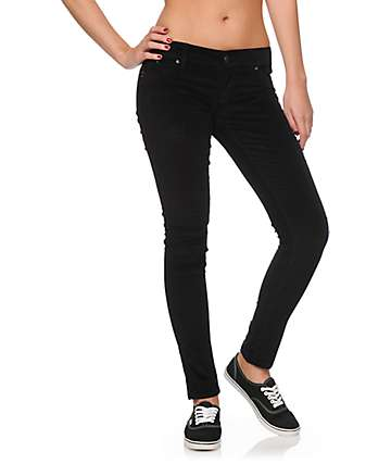 YMI WannaBettaButt Black Cord Skinny Pants