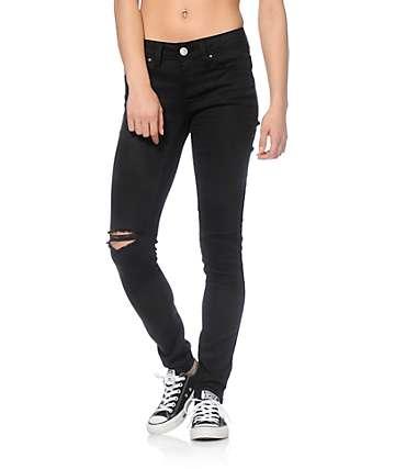 YMI WannaBettaButt Black Destroyed Skinny Jeans