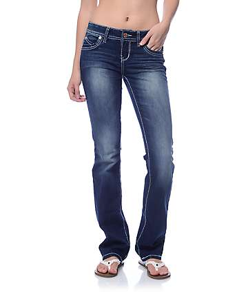 YMI WannaBettaButt Dark Blue Heavy Stitch Boot Cut Jeans
