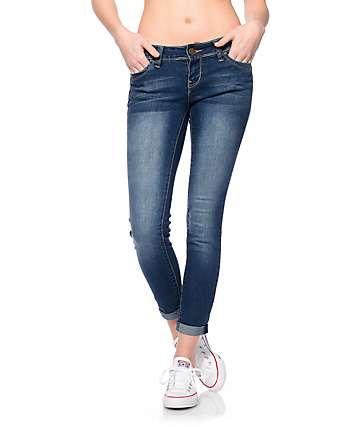 YMI WannaBettaButt Dark Rayon Rollup Skinny Jeans