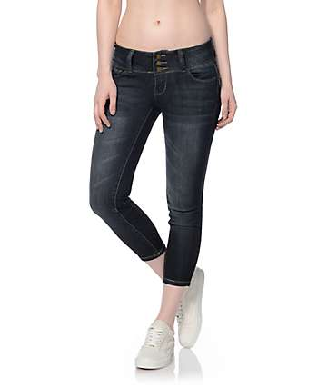 YMI WannaBettaButt Dark Wash 3 Button Flood Jeans
