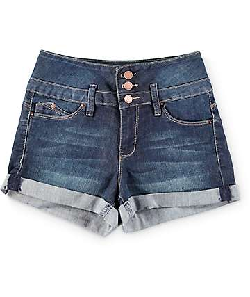 YMI WannaBettaButt Dark Wash 3 Button Roll Cuff Denim Shorts
