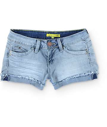 YMI WannaBettaButt Flap Back Pocket Medium Wash Denim Shorts