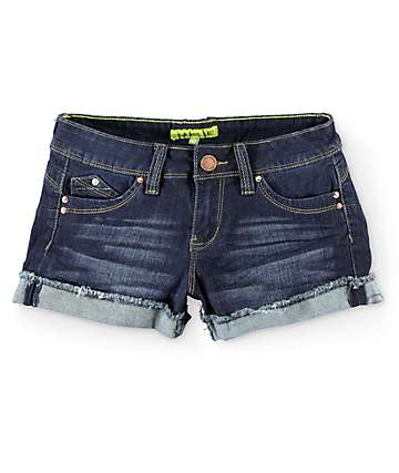 YMI WannaBettaButt Flap Pocket Dark Wash Denim Shorts