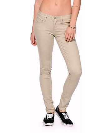 YMI WannaBettaButt Khaki Twill Skinny Jeans