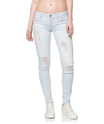 YMI WannaBettaButt Light Washed Blue Destroyed Skinny Jeans