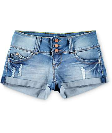 YMI WannaBettaButt Medium Wash 3 Button Roll Cuff Denim Shorts