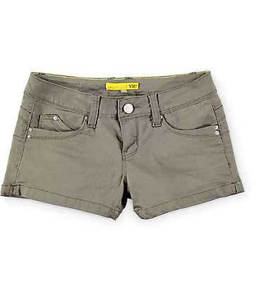 YMI WannaBettaButt Olive Side Slit Shorts