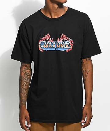 YRN Culture Flame Logo Black T-Shirt