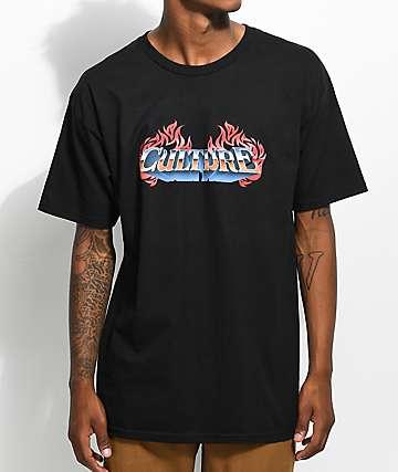 YRN Culture Flame Logo camiseta negra