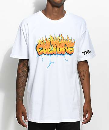 YRN Culture On Fire White T-Shirt