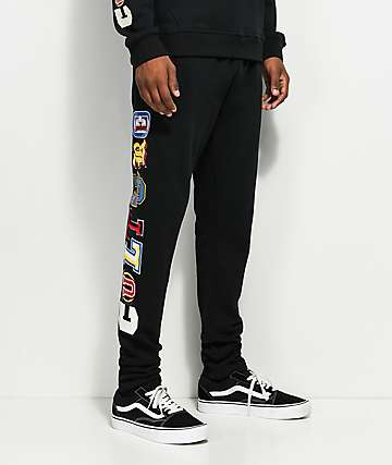 YRN Culture U Embroidered Black Sweatpants