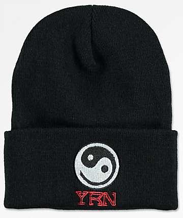 YRN Yin Yang Black Beanie