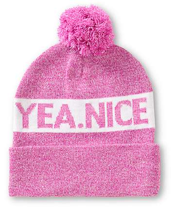 Yea.Nice Bubble Gum Pom Beanie