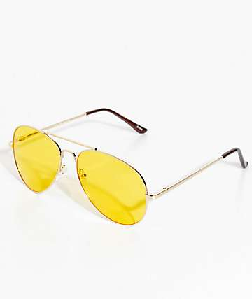 Yellow & Gold Aviator Sunglasses