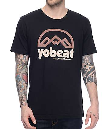 Yobeat Retro Mountains Black T-Shirt