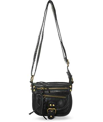Yoki Small Black Faux Leather Crossbody Purse