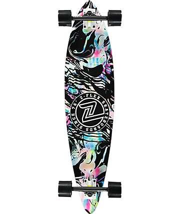 """Z-Flex Acid Swirl Black 38"""" Pintail Longboard Complete"""