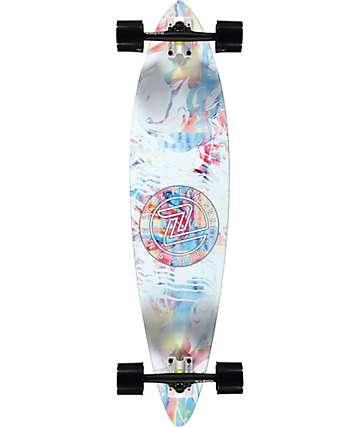 """Z-Flex Acid Swirl White 38"""" Pintail Longboard Complete"""